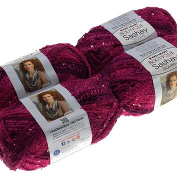 Red Heart Yarn Lot of 4 Skeins Balls Boutique Sashay Sequins Phlox Purple