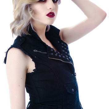 Lip Service Liquid Sky Candy Twill Studded and Cropped Moto Vest