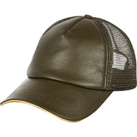 River Island Womens Khaki leather-look mesh cap