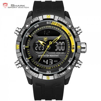 New Design SHARK Men Stopwatch Calendar Auto Date Alarm LCD Clock Dual Time Silicone Band Dress Watches erkek kol saati / SH599