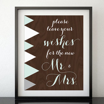 "Printable wedding sign for guest book table: ""leave your wishes"" geometric pastel shapes and chocolate wood, mint wedding print -wed006"