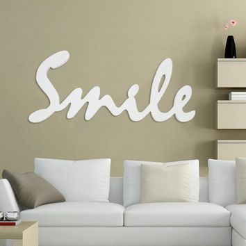 Wooden Smile Letter Wall Sticker Wall Art Hanging Sign Pendant Wood Craft DIY Home bedroom Living room Decor Ornament