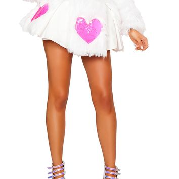 Light-Up Pink Heart White Shag Skirt