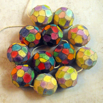 3 Carved Artisan Beads Handmade from Polymer Clay