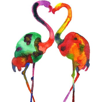Flamingo Love, art print, Watercolor Silhouette, Watercolor birds painting