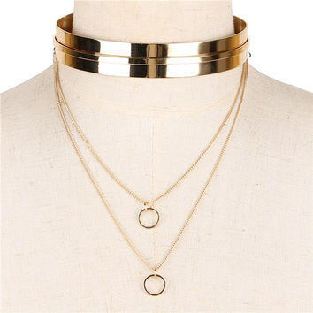 "12"" layered cuff ridge choker collar Necklace .80"" width"
