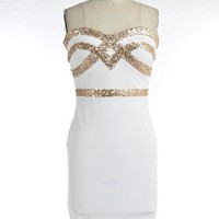 White Sequin Trim Bodycon Dress