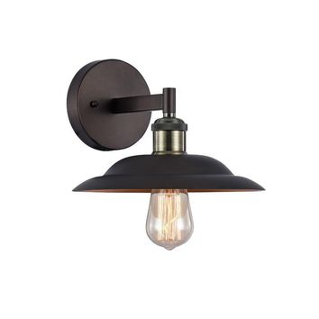 """Ironclad, Industrial-Style 1 Light Rubbed Bronze Wall Sconce 10"""" Wide"""
