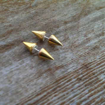 Gold double sided spike stud earrings/10mm cone shaped/spike earring/stud earring