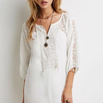 Embroidered Mesh-Paneled Shift Dress