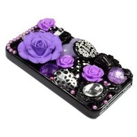 BONAMART ® Luxury Best Unique 3D ANNASUI Rose Sharp Bling Rhinestone Diamond Hard Back Phone Case Cover iPhone 4 4S