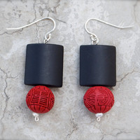 Shanghai Nights - Red cinnabar & matte black onyx earrings Freshwater pearl Sterling silver 925 Chinese Asian style Chinoiserie Luxe Sexy