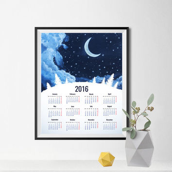 Moon  CALENDAR 2016 Printable calendar Wall decor Super moon art Moon print Moon poster Moonlight Wall art  Painting 8X10 INSTANT DOWNLOAD