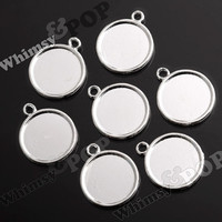 5 - Silver Bezel Cameo Setting Charm Pendant Blanks, 20mm Cameo Pendant, Fits 20MM Round Cabochon (R2-147)