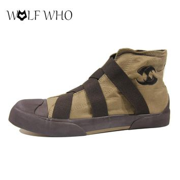 WolfWho New High Top Men Shoes Flats Slip On Casual Shoes Male Canvas Shoes Plimsolls Espadrilles Man Footwear Zapatillas Hombre