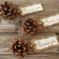 Natural Pine Cone Thank you Twine Tag- Set of 10, Pine Cone Place Cards, Pine Cone Favor, Rustic Woodland Wedding, Fall Winter Wedding Favor