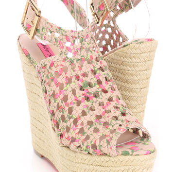 Natural Printed Fabric Woven Peep Toe Espadrille Wedges