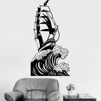 Vinyl Wall Decal Ship Sea Ocean Big Wave Sailor Landscape Stickers Unique Gift (1192ig)
