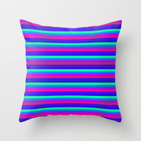 StRipES Pink Teal Blue Throw Pillow by 2sweet4words Designs