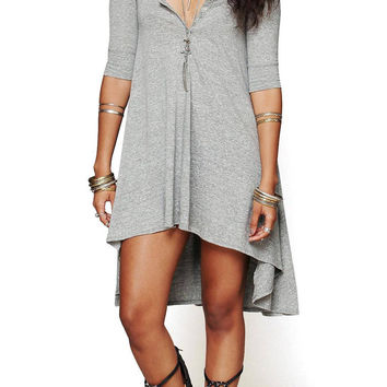 Grey Half Sleeve Dress With Irregular Hem