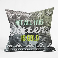 Wesley Bird Golden Throw Pillow