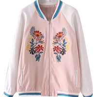 Pink Contrast Embroidery Floral Long Sleeve Bomber Jacket