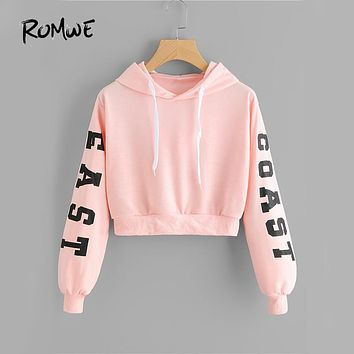 ROMWE Pink Cropped Hoodies Drawstring Kawaii Women Letters Print Long Sleeve Hooded Sweatshirt 2018 Autumn Graphic Sweet Hoodies