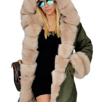 Womens Parka Fashion Hoodie Overcoat Jacket Winter Faux Fur Coat