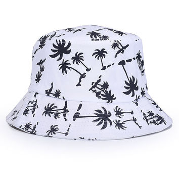 Palm Trees Adult Unisex White & Black Casual Summer Beach Flat Bucket Hat