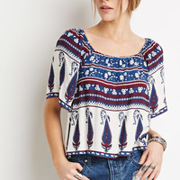 Floral Paisley-Striped Top