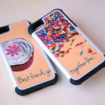 Two Matching Best Friends Hybrid Phone Cases, Cupcake + Sprinkles iPhone 4, 4s, 5, 5s, 5c, 6, 6s, 6 Plus, 6s Plus Case, Galaxy S4, S5, Case