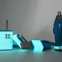 Aqua on Teal Glow in the Dark iPhone charger set with rhinestones
