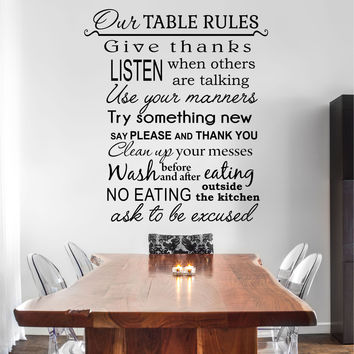 Our Table Rules Kitchen Quote Vinyl Wall Decal Sticker