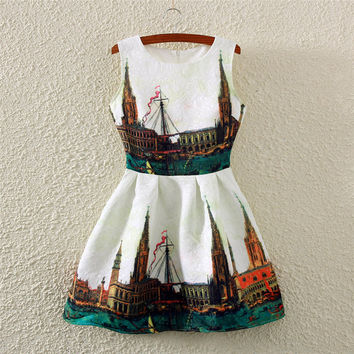 City Print Crew Neck Sleeveless Skater Dress