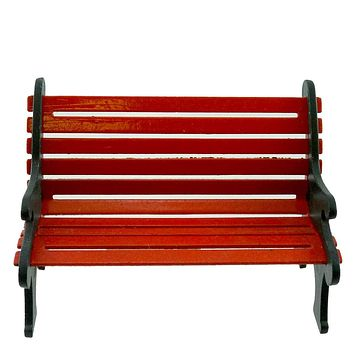 Dept 56 Accessories Red Wrought Iron Park Bench Village Accessory