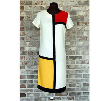 1960s Mondrian dress, color blocked dress, primary colors, red yellow black, shift dress, 1960s mod dress, Size XS