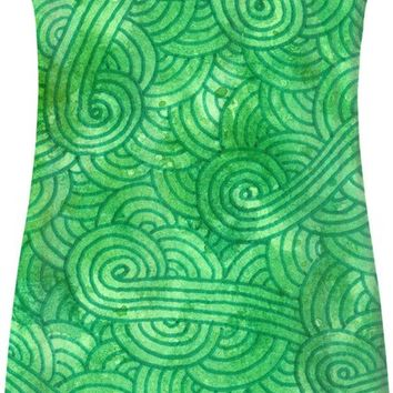 Green swirls doodles Simple Dress