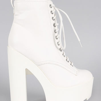 Breckelle Round Toe Chunky Platform Heeled Lace Up Booties