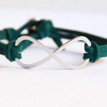 Infinity Forest Green Suede and Silver Rhinestone by MesaBlue