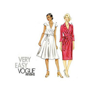 VOGUE 8784 DRESS PATTERN Wrap Dress Pattern V-Neck Cap Sleeves Very Easy Vogue Size 14 16 18 20 22 UNCuT Plus Size Womens Sewing Patterns
