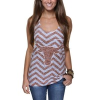 Texas Longhorns Ladies Chevron Racerback Tank Top - Burnt Orange