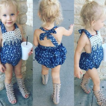 Baby Girls Ruffled rompers with headbands