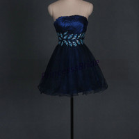 2014 dark navy tulle prom dress with sequins,cheap beaded dress for party,unique cocktail dress,short strapless homecoming gowns hot.