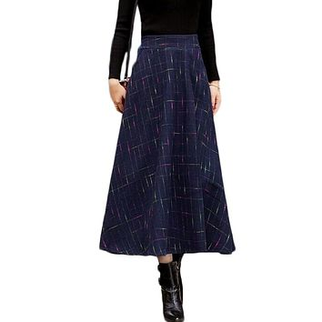 2017 Autumn Winter A Line Plaid Skirt Faldas Mujer Women Elastic High Waist Casual Thick Long Maxi Wool Skirt Saias Jupe Skirts