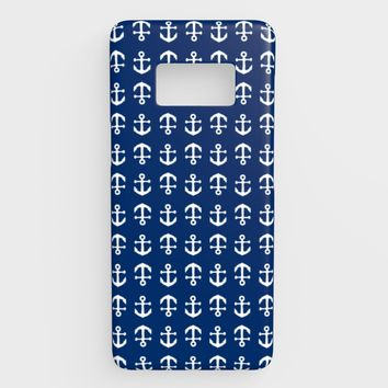 Anchor Toss Cell Phone Case Galaxy S8 - White on Navy