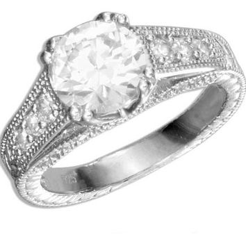 Sterling Silver 1 Carat Vintage Style Round Cubic Zirconia Engagement Ring