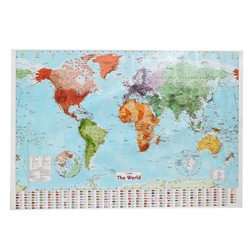LARGE MAP OF THE WORLD [POSTER 97.5 x 67.5cm] With Country Flags Wall Chart Political