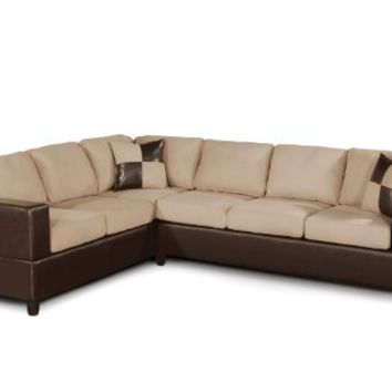 Bobkona Trenton 2-Piece Sectional Sofa with Accent Pillows, Hazelnut