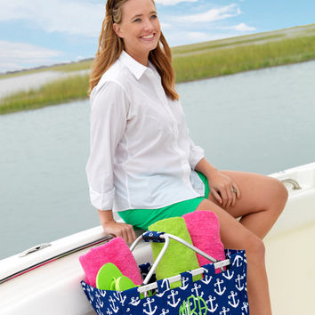 Navy Anchor Market Tote. Collapsible. Handle. Monogram. Personalized FREE. Market Basket.  Farmers Market. Shopping, picnics, storage