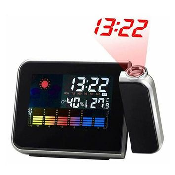 Digital Alarm Clock Color Screen Projection Multi-function Alarm Clock Weather Calendar Time Desktop Clock Watch High Quality